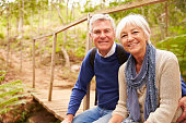 Happy senior couple sitting on a bridge in forest, portrait