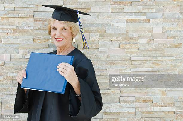 Happy Senior Graduate With Diploma