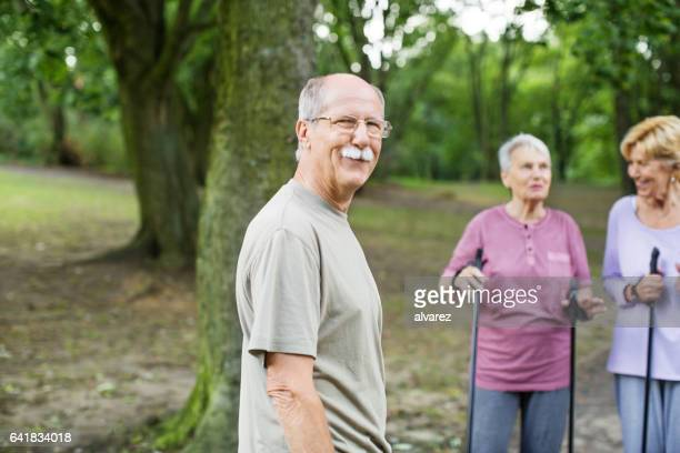 Happy senior man at the park