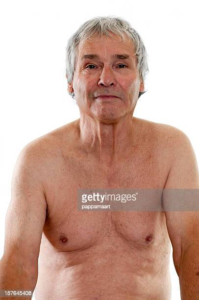 Happy Senior man naked shoulders, chest and belly