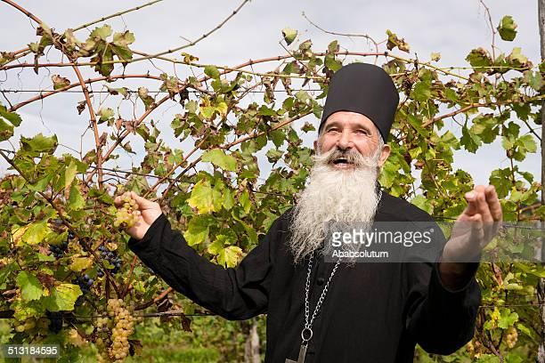 Happy Senior Ortodox Priester während Trauben ernten, Europa