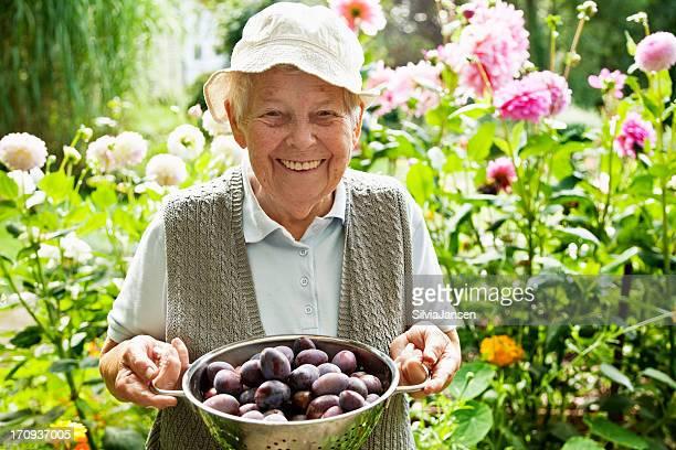 Glückliche senior Frau Gartenbau