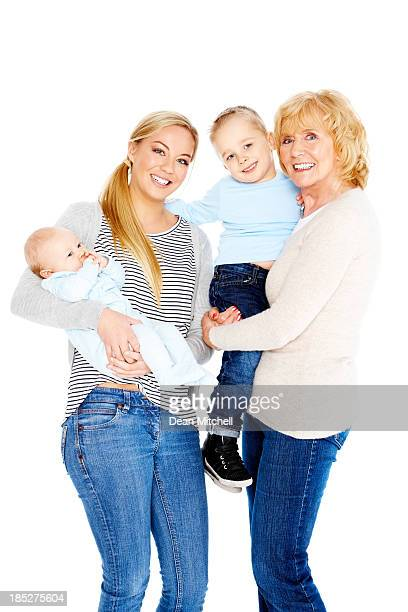 Happy senior woman with her daughter and grandchildren