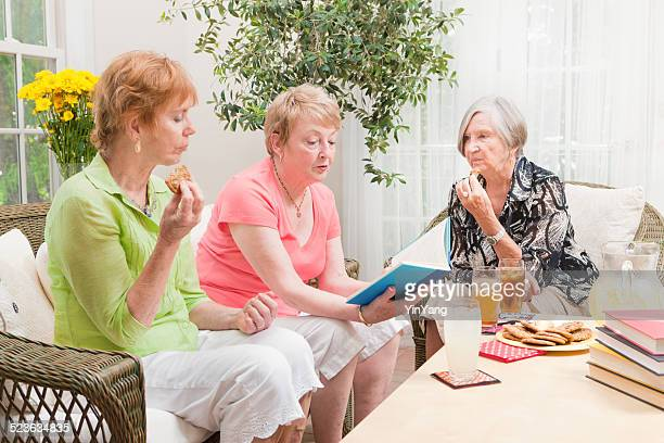 Happy Senior Women Group Social Gathering Book Club