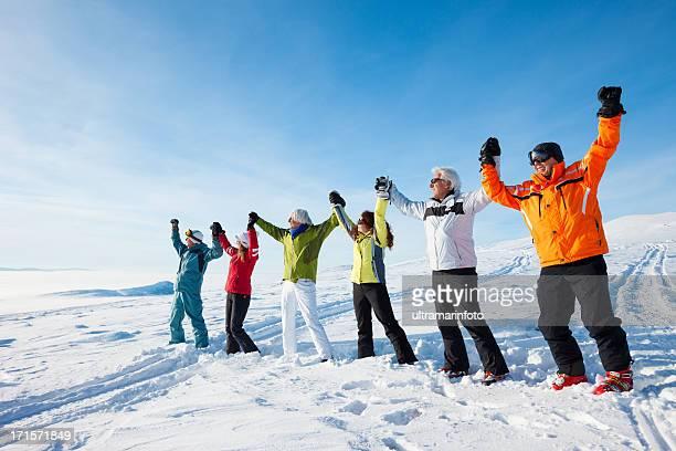 Happy skiers