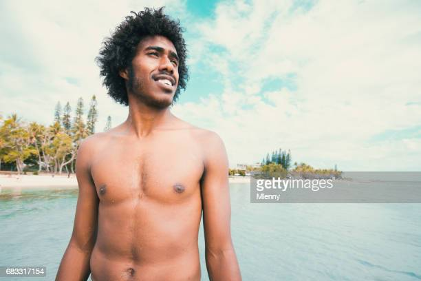 Happy Smiling Pacific Islander Noumea Beach New Caledonia