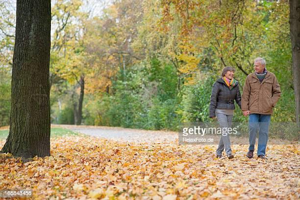 Happy smiling Senior couple walking in autumn through park