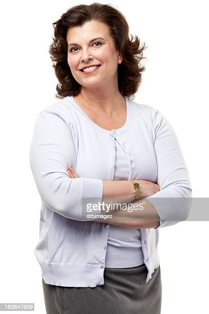 幸せな笑顔の女性にポーズを取る腕を組む