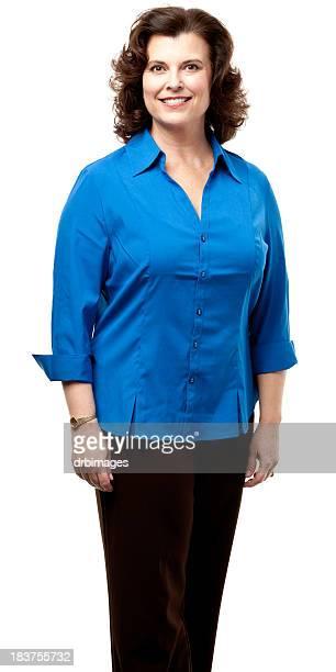 Mujer feliz sonriendo Retrato de tres Quarter