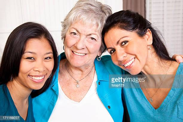 Happy smiling women. Multi-ethnic group. Mother, grandmother, friends.