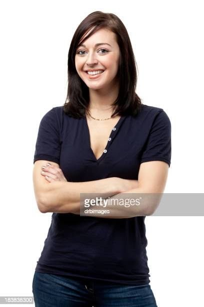Happy Smiling Young Woman Posing With Arms Crossed