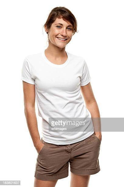 Happy Smiling Young Woman Three Quarter Length Portrait