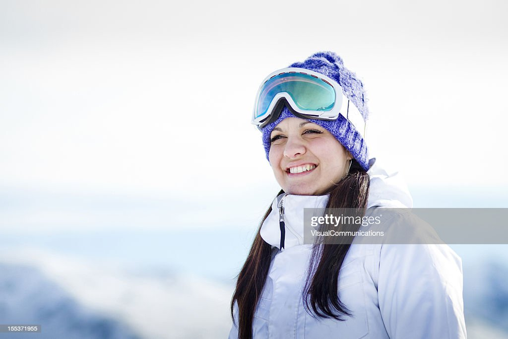 happy snowboarder smiling. : Stock Photo