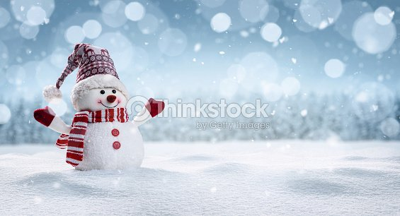Happy snowman in winter secenery : Stock Photo