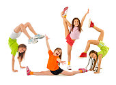 Little girls gymnasts doing exercises