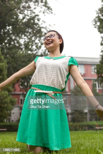 happy student in campus : Stock Photo