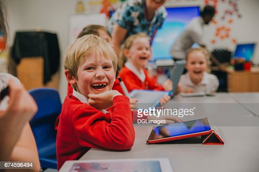 Happy Student In Technology Lesson : Stock Photo