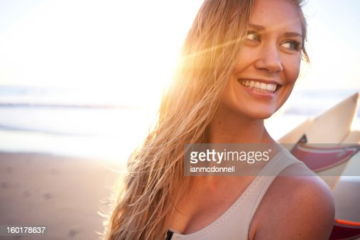 happy surfer girl : Stock Photo