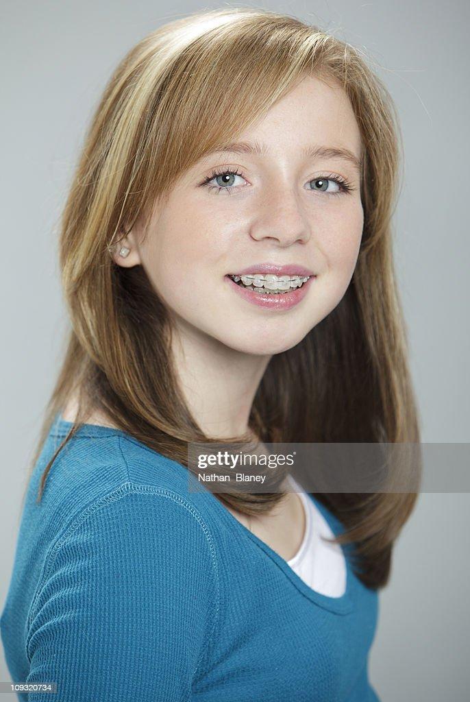 Happy Teen By Crumbling Wall Stock Image: Happy Teen Girl Stock Photo