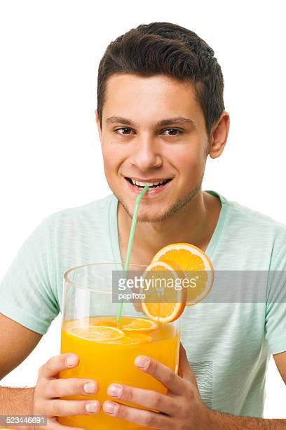 happy teen with big glass of juice