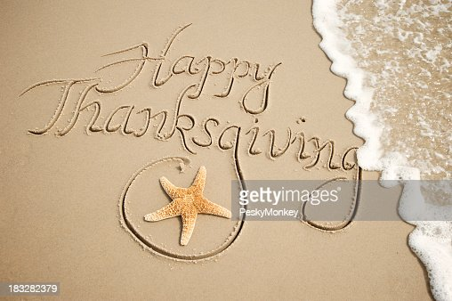 Happy Thanksgiving Message Handwritten Outdoors with White Wave