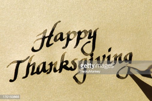 Happy Thanksgiving Message In Calligraphy On Gold Stock