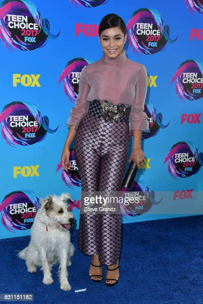 Happy the Dog and Vanessa Hudgens attend the Teen Choice Awards 2017 at Galen Center on August 13 2017 in Los Angeles California