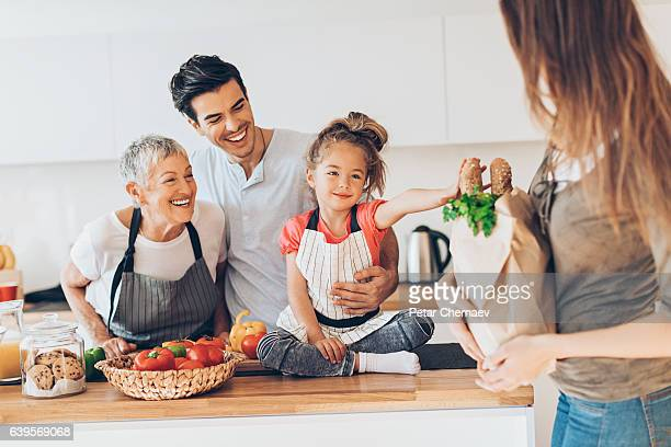 Happy three-generation family