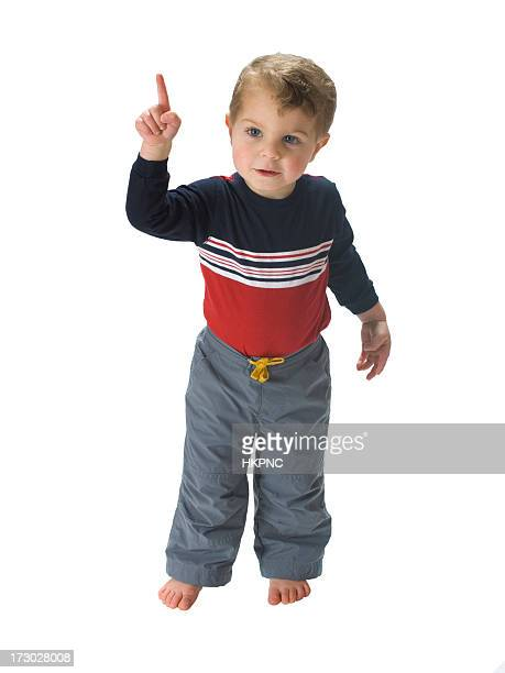Happy Toddler Pointing Number one. Isolated on white, Clipping Path.