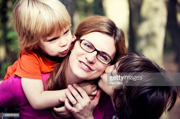 Happy trio family portrait