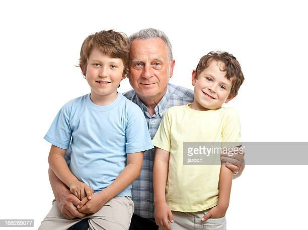 happy two brothers with grandfather