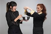 happy two female chef