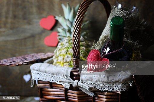 happy valentine wine bascet : Stock Photo