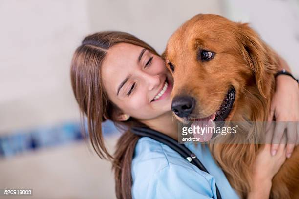 Happy vet with a dog