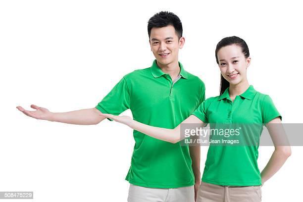 Happy volunteers gesturing