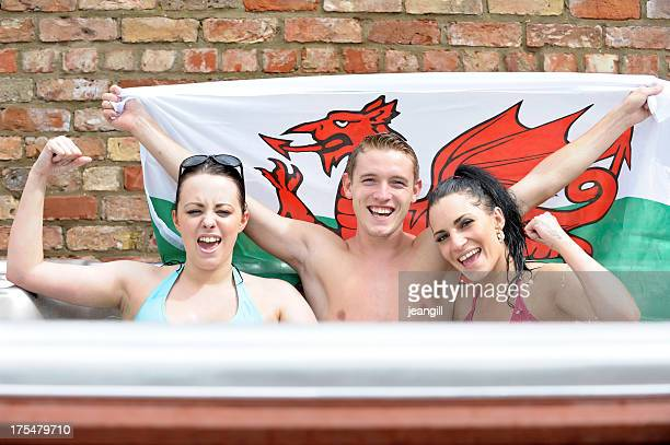 Happy Wales supporters in hot tub