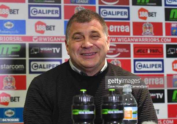 A happy Wigan Warriors' Head Coach Shaun Wane with the result after the Betfred Super League Round 3 match between Wigan Warriors and Leigh...