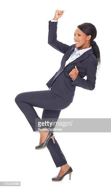 幸せなビジネスの女性を受賞しています。