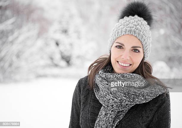 Happy Winter Portrait, Woman enjoying this snowy Winter Day