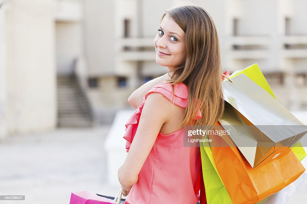 Happy With All The Bought Things : Stock Photo