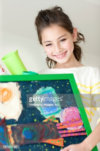 Happy with art : Stock Photo
