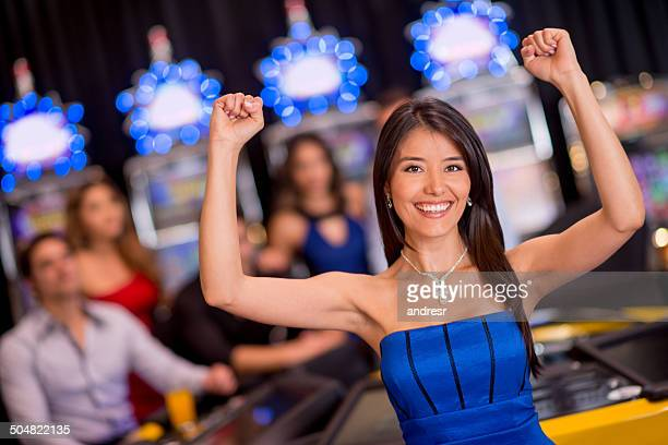 Happy woman at the casino