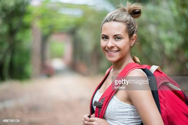Happy woman backpacker