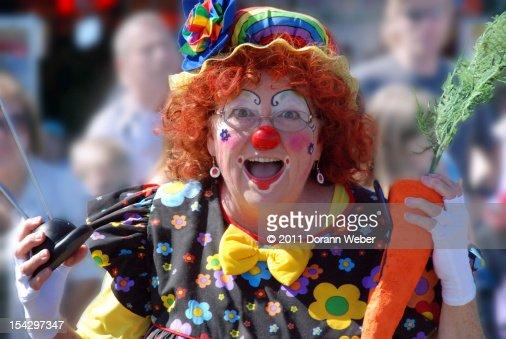 Happy woman clown