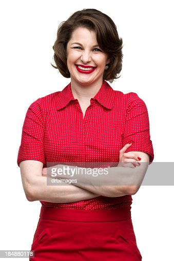 Happy Woman Crosses Arms