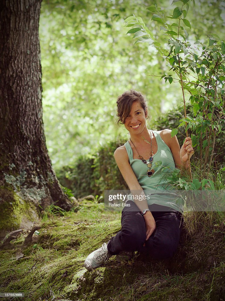 Happy woman in forest : Stock Photo