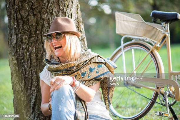 Happy woman in the park