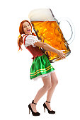 Happy Woman in Traditional Costume Holding a Huge Beer Glass..