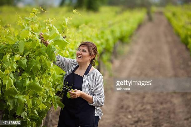 Happy Woman in Vineyard