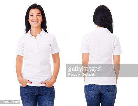 Happy woman in white polo shirt : Foto de stock
